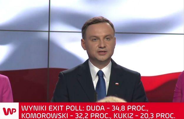 Andrzej Duda: w II turze spotkam się z Bronisławem Komorowskim