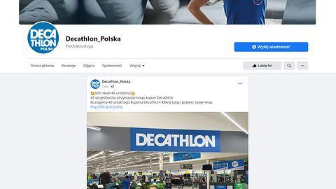 """""""Fałszywy Decathlon"""" znów na Facebooku. Nie daj się nabrać na konkurs z okazji urodzin"""