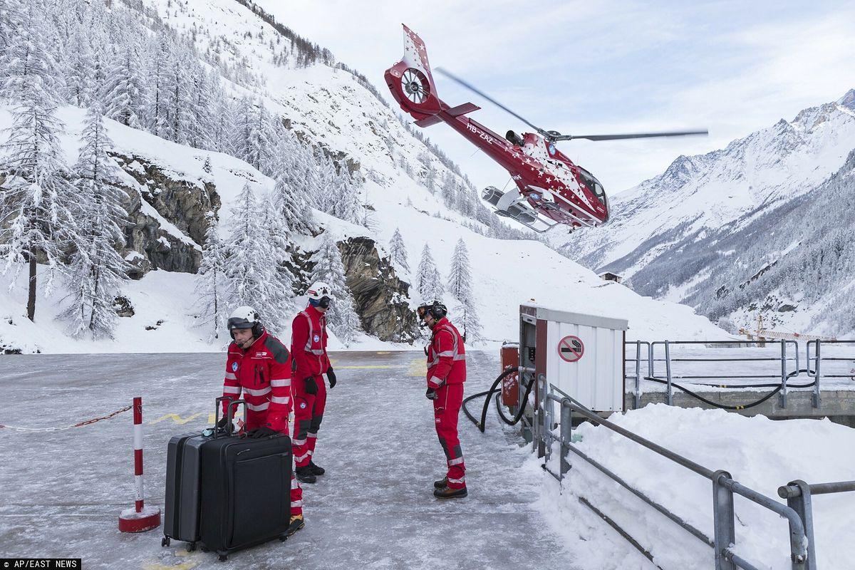 Pogoda. Polscy narciarze i wielu turystów są od trzech dni odcięci w Zermatt w Szwajcarii. Na fot. akcja ewakuacyjna  z 2018 roku