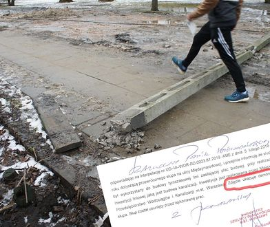 Leżący na chodniku słup po zmroku był niebezpieczną przeszkodą dla spacerujących