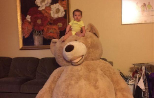 Kupił wnuczce ogromnego pluszowego misia. Zdjęcia niemowlaka podbijają internet
