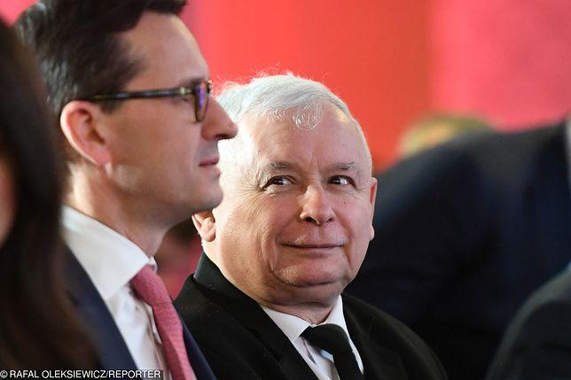 Wybory do europarlamentu. Mateusz Morawiecki i Jarosław Kaczyński.