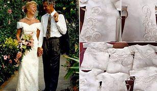 Przerobiła suknię ślubną na ubrania dla zmarłych dzieci. Świat zachwycony jej postawą