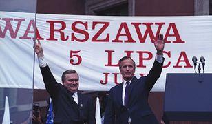Lech Wałęsa i George H.W. Bush podczas wizyty prezydenta USA w Polsce w 1992 r.