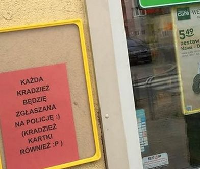 Taką osobliwą kartkę można znaleźć przed jedną z poznańskich Żabek.