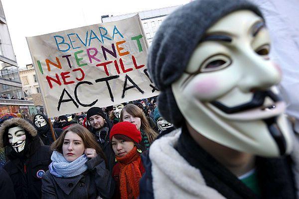 Protest przeciwko wprowadzeniu porozumienia ACTA