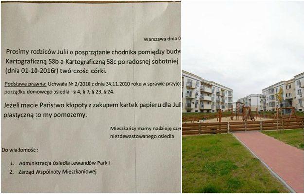 Mieszkańca Warszawskiego osiedla oburzyły... rysunki kredą na chodniku