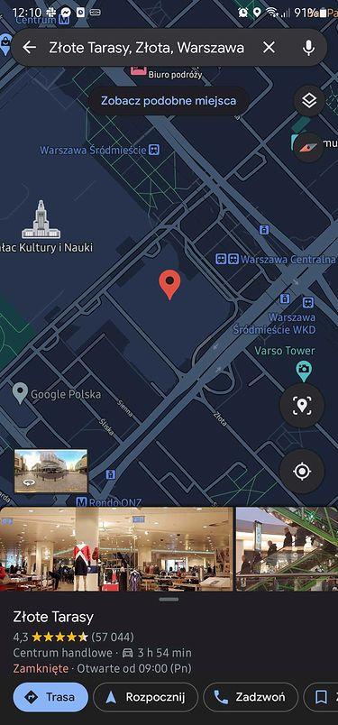 Ciemny motyw interfejsu w Mapach Google, fot. Miron Nurski.