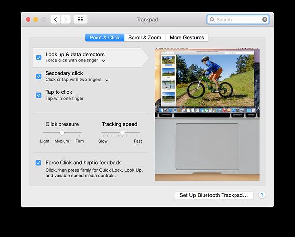 Konfiguracja siły nacisku w OS X Yosemite (źródło: 9to5mac.com)