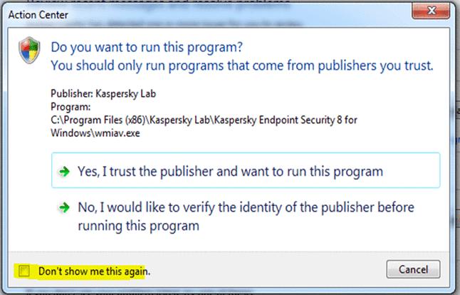 Windows nie ufa Kaspersky Lab?