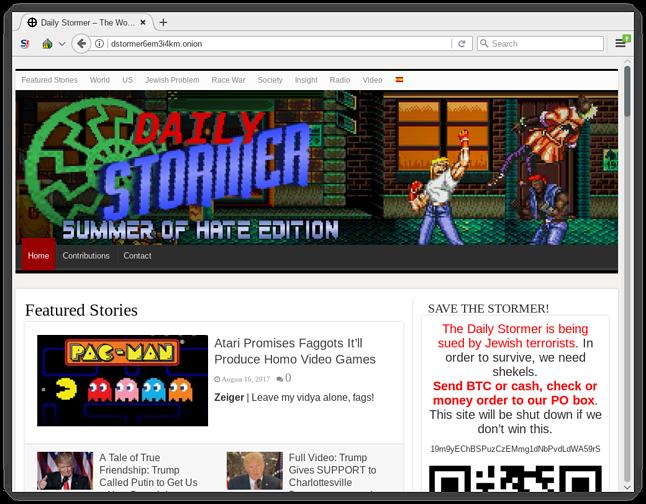 The Daily Stormer – nazistowski brukowiec teraz dostępny tylko przez Tora
