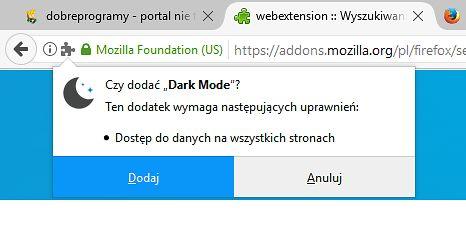 Instalując rozszerzenie WebExtension zostaniemy poproszeni o udzielenie wymaganych uprawnień