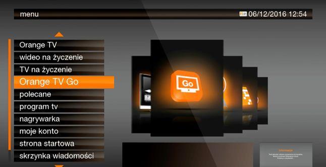 Menu dekodera, w którym aktywować można usługę Orange Tv Go.