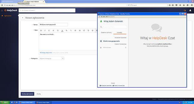 Użytkownik ma problemy – po jego stronie moduł HelpDesk wymaga tylko przeglądarki