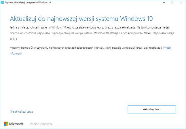 Asystent aktualizacji do systemu Windows 10, czyli (według Microsoftu) narzędzie dla zaawansowanych.