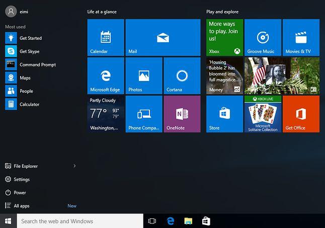 Pełne bibelotów i wodotrysków menu Start Windows 10