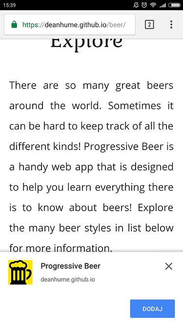 Strona Progressive Beer – wszystko co trzeba wiedzieć o piwie – chce zostać aplikacją