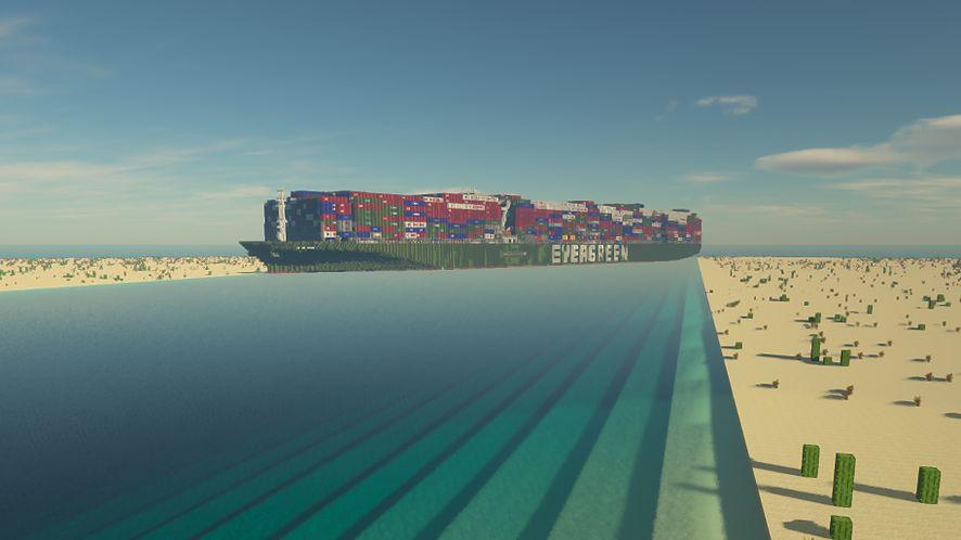 "Transportowiec ""Evergreen"" w Kanale Sueskim - Minecraft Edition"
