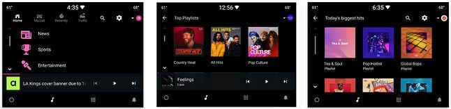 Aplikacje muzyczne, w tym YouTube Music w Android Automotive OS, źródło: Google.