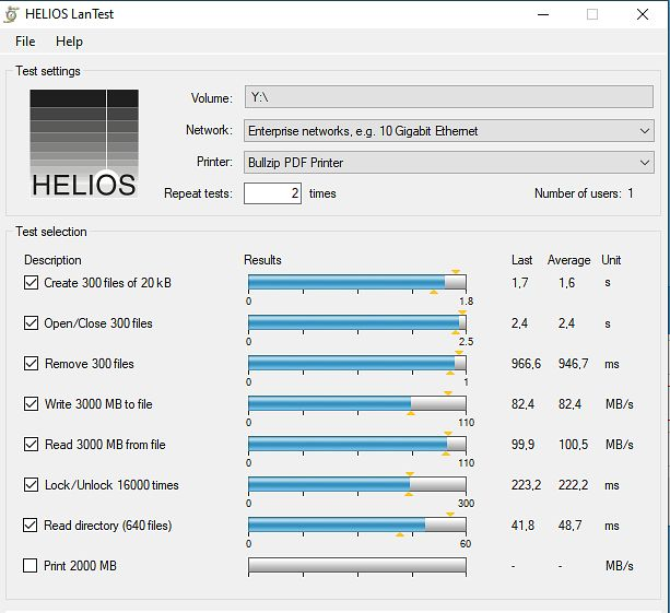 Test wykonany za pomocą narzędzia Helios LanTest