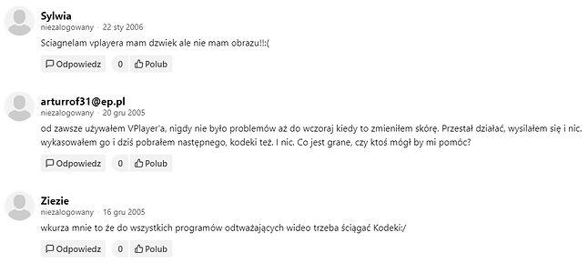 Wybrane komentarze użytkowników DP o VPlayerze, lata 2005-2006.