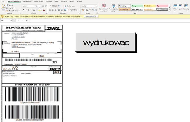 """22002539340.xls zachęca, aby """"wydrukowac"""" list przewozowy w mizernej rozdzielczości, który jest w praktyce osadzonym plikiem graficznym."""