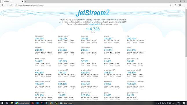 Microsoft Edge Dev - JetStream2 - Wynik: 114.735