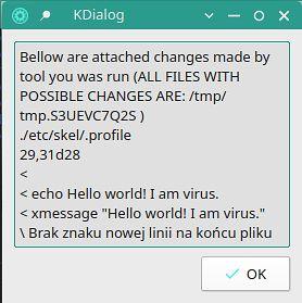 Okno wyświetlające informacje o dokonanych zmianach