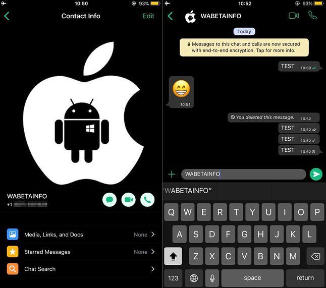Projekt ciemnego motywu w WhatsAppie według pomysłu WABetaInfo.
