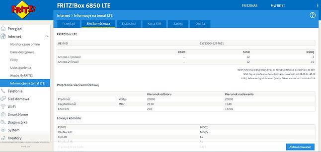 Router FRITZ!Box 6850 LTE - Informacje o parametrach połączenia LTE