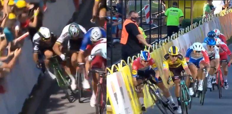 Wypadek podczas Tour de Pologne. Wymowne porównanie zabezpieczeń trasy (wideo)