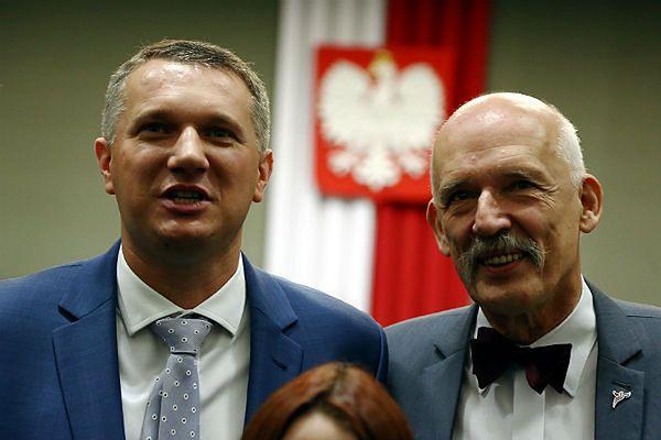 Przemysław Wipler i prezes Kongresu Nowej Prawicy Janusz Korwin-Mikke