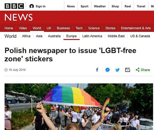 "BBC News o ""Gazecie Polskiej"" i naklejkach"