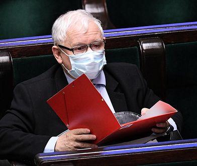 Warszawa, 12.05.2020. Prezes PiS Jarosław Kaczyński na sali obrad Sejmu.