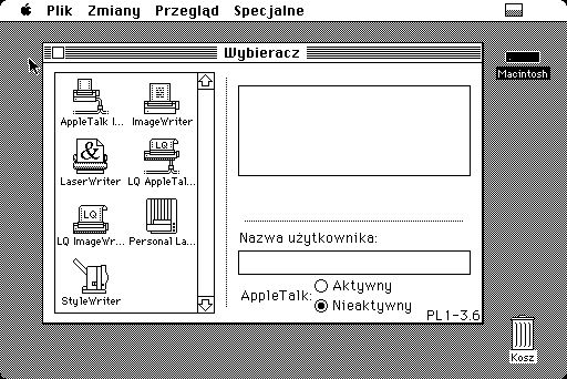 Wybieracz (ang. Chooser) umożliwiał wskazanie Macintoshowi z jakiej drukarki ma korzystać. Wystarczyło puknąć w lewym okna znaczek odpowiedniej drukarki. W lewym oknie pojawiały się też urządzenia dostępne w sieci AppleTalk.
