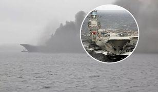 """Rosja. Pożar na pokładzie """"Admirała Kuzniecowa"""" w Murmańsku"""