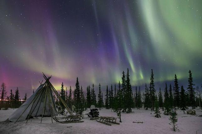 Zorza polarna na północy Rosji