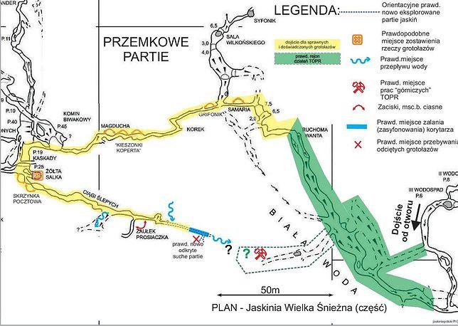 Jaskinia Wielka Śnieżna. Miejsce akcji ratunkowej. Szkic opracowany przez jednego ze speleologów. Trasę zaznaczoną na żółto chcieli pokonać ratownicy GRJ i grotołazi.