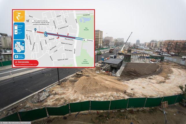Warszawa. Wola, ul. Górczewska, zbieg ulicy Księcia Janusza i ulicy Jana Olbrachta. Budowa II linii metra