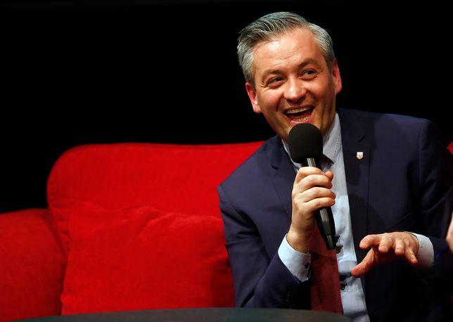 Robert Biedroń na spotkaniu z wyborcami.