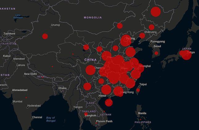 Mapa rozprzestrzeniania się koronawirusa