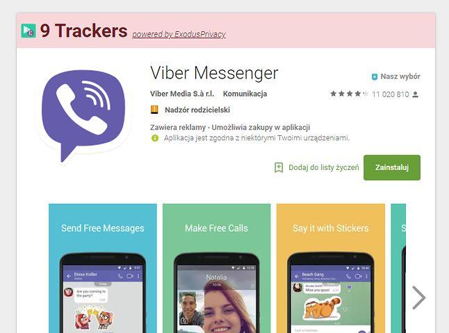 Dodatkowa belka z kolorowym tłem nad nazwą aplikacji w Sklepie Play podpowiada, ile usług śledzących wykorzystuje wybrana aplikacja.