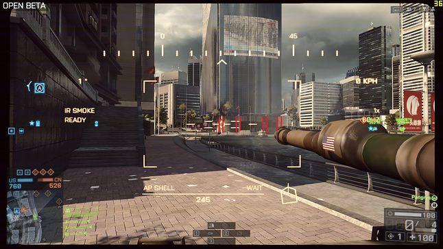 Strzelamy w kolumny zaznaczone na czerwono i budynek runie jak domek z kart