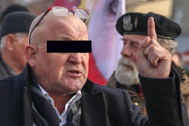 Piotr R. na demonstracji w Oświęcimiu