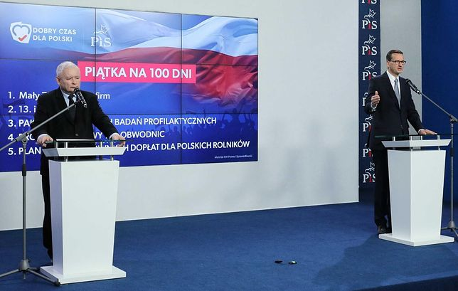 Prezes PiS Jarosław Kaczyński i premier Mateusz Morawiecki na wspólnej konferencji prasowej