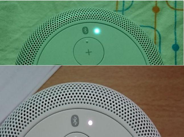 górne zdjęcie - dioda (głośnik sparowany), dolne: dioda (oczekuje na połączenie z urządzeniem żródłowym)