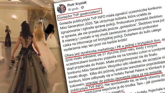 """Piotr Krysiak opublikował na Facebooku wstrząsający wpis rzucający oskarżenia na """"gwiazdora TVP"""""""