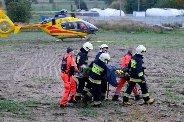 Transport rannego górnika w kopalni KWK Bielszowice