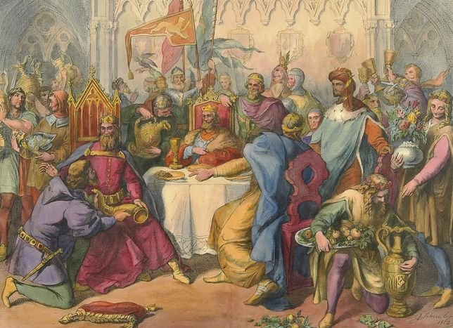 Kazimierz Wielki na słynnej uczcie u Wierzynka. Litografia z połowy XIX wieku