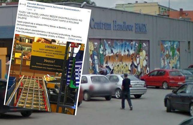 """Skandaliczna tabliczka w sklepie w Barlinku. """"Każdy obywatel Ukrainy będzie poddany kontroli"""""""